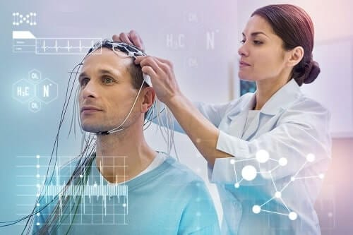 Накладывание электродов для снятия когнитивных потенциалов