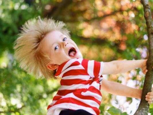Гиперактивный ребенок залезает на дерево и кричит