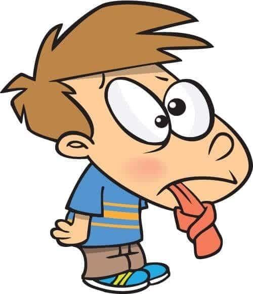 Рисунок мальчика с завязанным в узел языком
