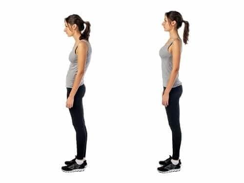 Сутулая и ровная спина у женщины