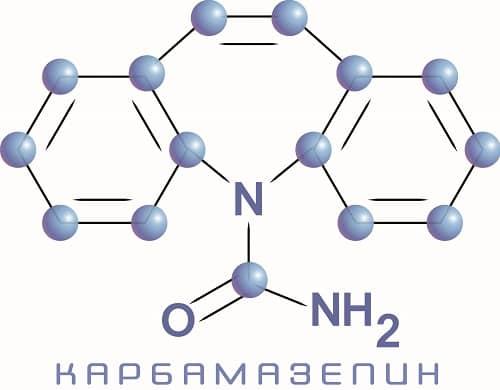Формула карбамазепина - препарата от эпилепсии