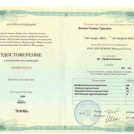 Удостоверение о повышении квалификации, Бичева Г.Г., 2016 г.
