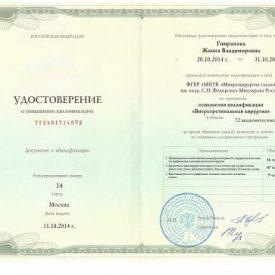 Удостоверение по витреоретинальной хирургии