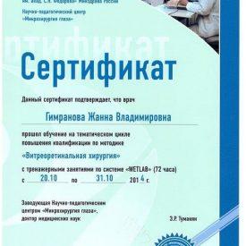 Сертификат по витреоретинальной хирургии