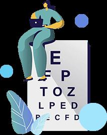 Офтальмолог с таблицей проверки зрения