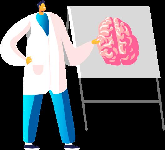 Врач анализирует здоровье головного мозга