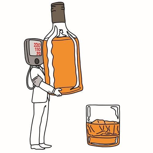 От алкоголя растет давление и болит голова