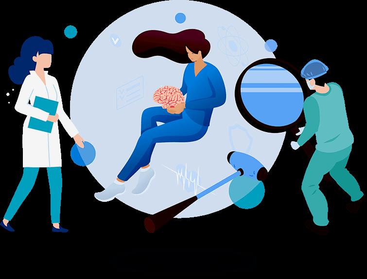 Изображение врачей, обследующих мозг