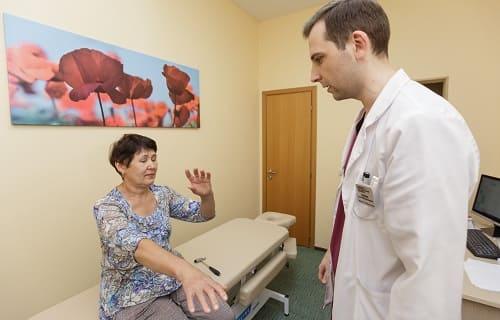 Осмотр пациентки с болью в левом виске