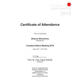 Сертификат участия в Frankfrut Academy