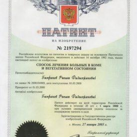Патент: способ лечения больных в коме и вегетативном состояние №2197294
