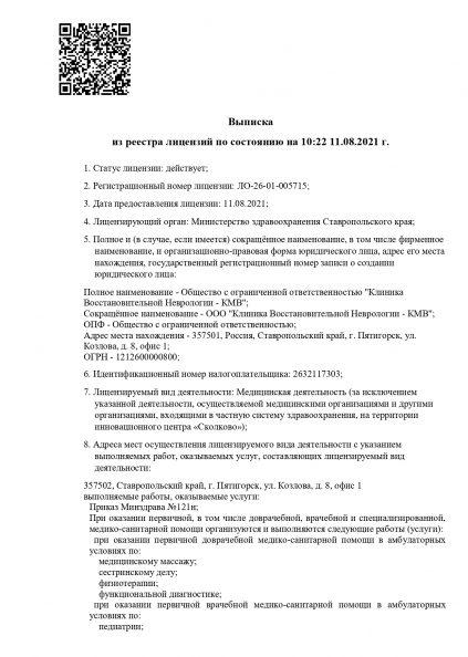 Лицензия клиники восстановительной неврологии в Пятигорске, стр. 1